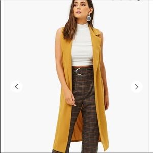 Mustard Duster Belted Vest